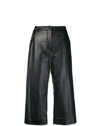 Pantalon large en cuir noir Nehera