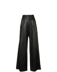 Pantalon large en cuir noir Nili Lotan