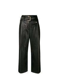 Pantalon large en cuir noir Patrizia Pepe