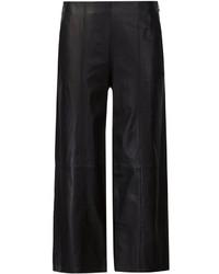 Pantalon large en cuir noir Vince