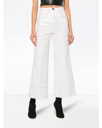 Pantalon large en denim blanc Miu Miu
