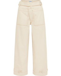 Pantalon large en denim blanc Mugler