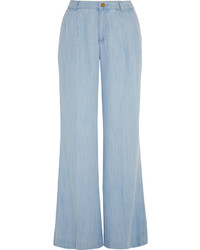 Pantalon large en denim bleu clair