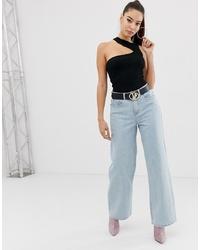 Pantalon large en denim bleu clair Missguided