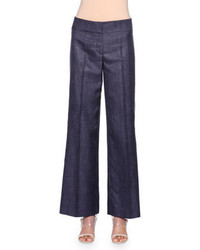 Pantalon large en denim bleu marine