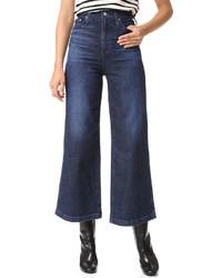 Pantalon large en denim bleu marine AG Jeans