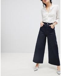 Pantalon large en denim bleu marine ASOS DESIGN
