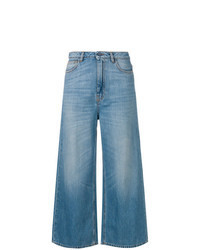 Pantalon large en denim bleu