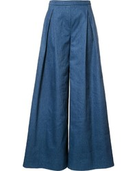Pantalon large en denim bleu Carolina Herrera