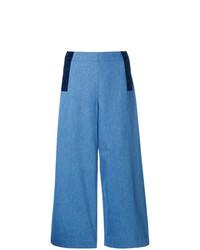 Pantalon large en denim bleu Chinti & Parker