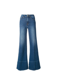 Pantalon large en denim bleu Frame Denim