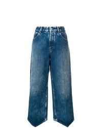 Pantalon large en denim bleu MM6 MAISON MARGIELA