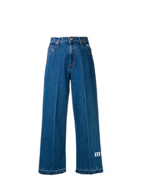 Pantalon large en denim bleu MSGM