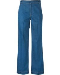Pantalon large en denim bleu Stella McCartney