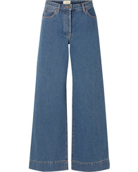 Pantalon large en denim bleu The Row
