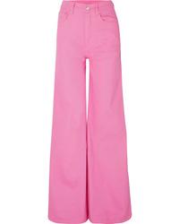 Pantalon large en denim fuchsia SOLACE London