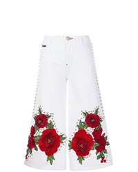 Pantalon large en denim imprimé blanc Philipp Plein