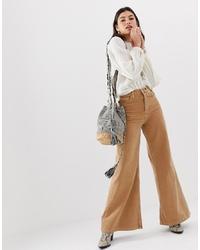 Pantalon large en denim marron clair