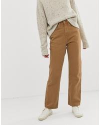Pantalon large en denim marron clair Weekday