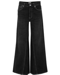 Pantalon large en denim noir Ganni