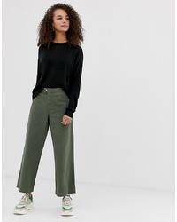 Pantalon large en denim olive Miss Selfridge