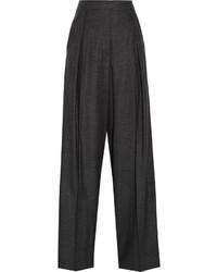 Pantalon large en laine à carreaux gris foncé Brunello Cucinelli