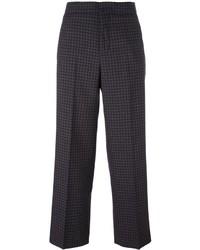 Pantalon large en laine à carreaux marron foncé Incotex