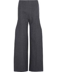 Pantalon large en laine à rayures verticales gris foncé Jacquemus