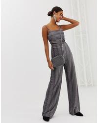 Pantalon large en laine à rayures verticales gris Miss Selfridge