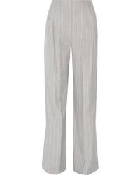 Pantalon large en laine à rayures verticales gris Protagonist