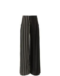 Pantalon large en laine à rayures verticales noir et blanc Esteban Cortazar