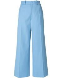 Pantalon large en laine bleu clair Joseph