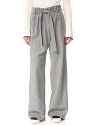 Pantalon large en laine gris MSGM