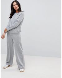 Pantalon large en laine gris Vila