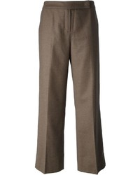 Pantalon large en laine marron Escada