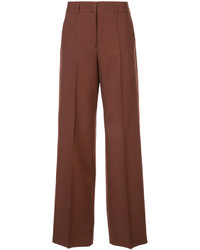 Pantalon large en laine marron Jil Sander