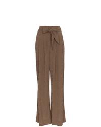 Pantalon large en laine marron Nanushka