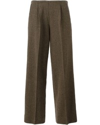 Pantalon large en laine marron