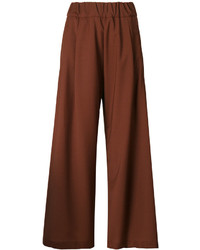 Pantalon large en laine marron Semi-Couture