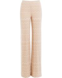 Pantalon large en laine rose