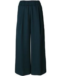 Pantalon large en laine vert foncé Forte Forte