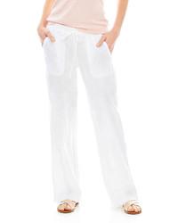 Pantalon large en lin blanc