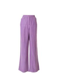 Pantalon large en lin violet clair Emanuel Ungaro Vintage