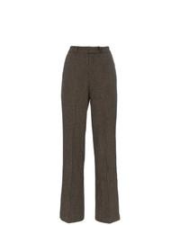 Pantalon large en pied-de-poule marron Charm`s