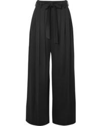 Pantalon large en satin noir