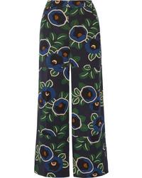 Pantalon large en soie à fleurs bleu marine Tory Burch