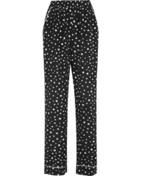 Pantalon large en soie á pois noir Dolce & Gabbana