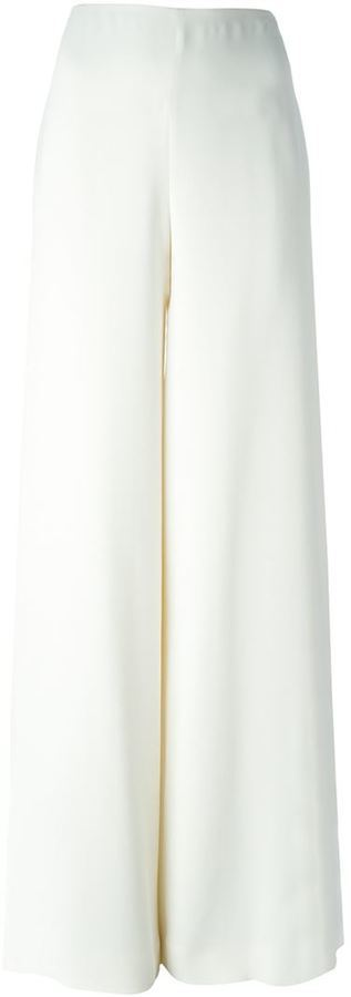 Pantalon large en soie blanc Ralph Lauren