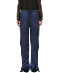 Pantalon large en soie bleu marine Chloé