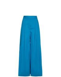 Pantalon large en soie bleu Vika Gazinskaya